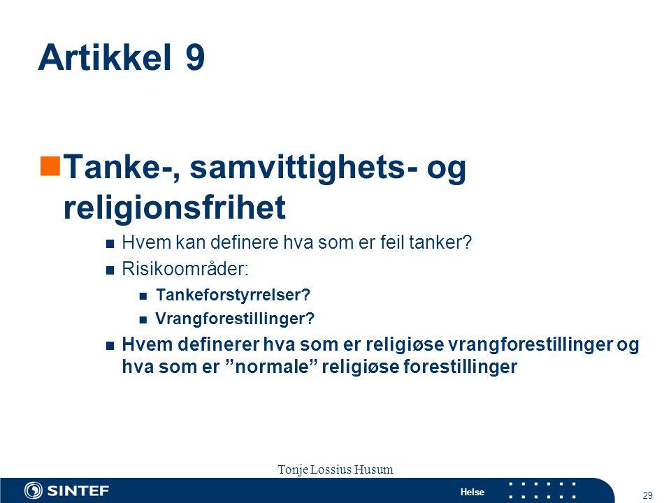 Artikkel 9 Tanke-, samvittighets- og religionsfrihet