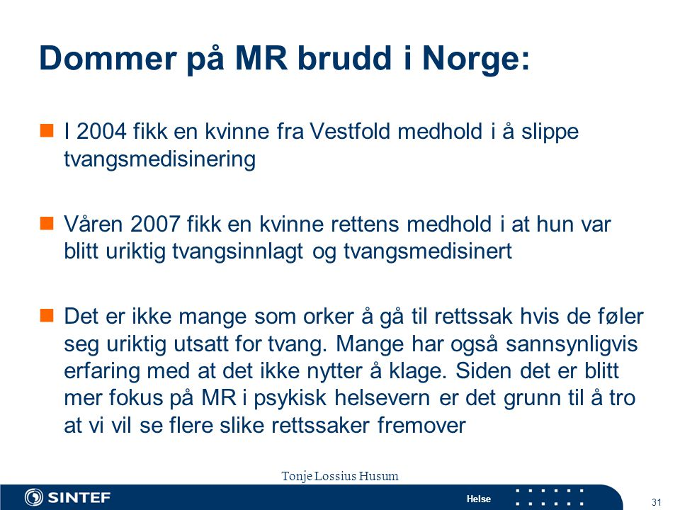 Dommer på MR brudd i Norge: