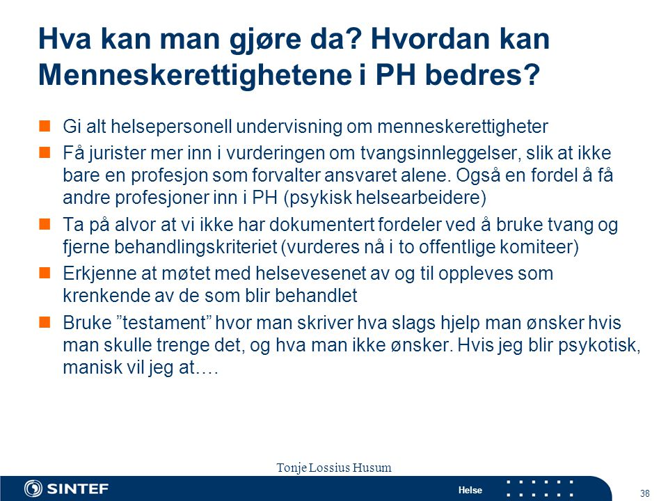 Hva kan man gjøre da Hvordan kan Menneskerettighetene i PH bedres