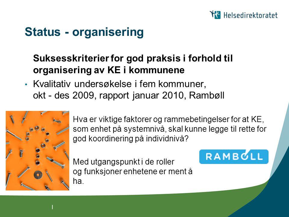 Status - organisering Suksesskriterier for god praksis i forhold til organisering av KE i kommunene.
