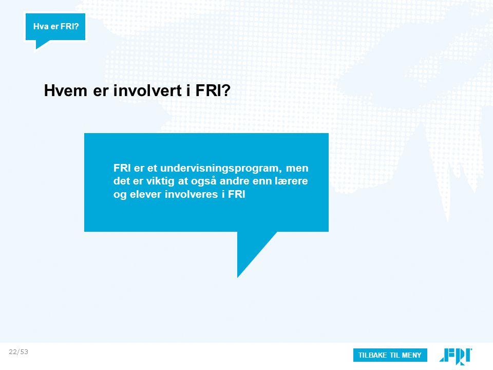 Hva er FRI Hvem er involvert i FRI FRI er et undervisningsprogram, men det er viktig at også andre enn lærere og elever involveres i FRI.