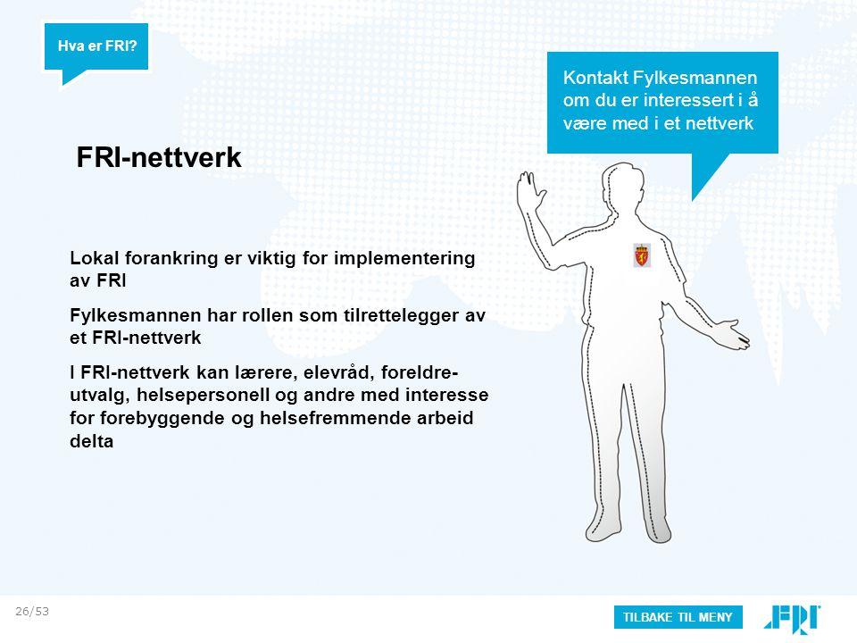 Hva er FRI Kontakt Fylkesmannen om du er interessert i å være med i et nettverk. FRI-nettverk.