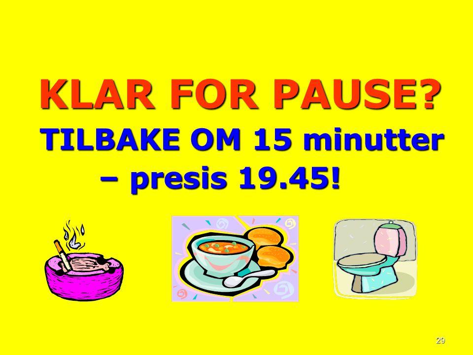 KLAR FOR PAUSE TILBAKE OM 15 minutter – presis 19.45!