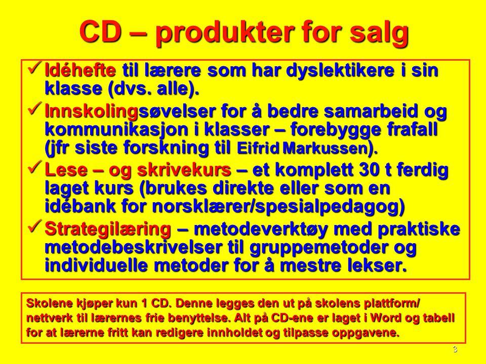 CD – produkter for salg Idéhefte til lærere som har dyslektikere i sin klasse (dvs. alle).