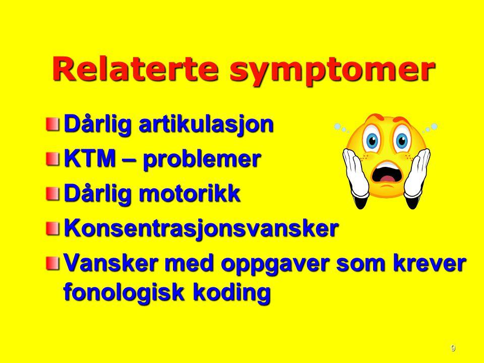 Relaterte symptomer Dårlig artikulasjon KTM – problemer
