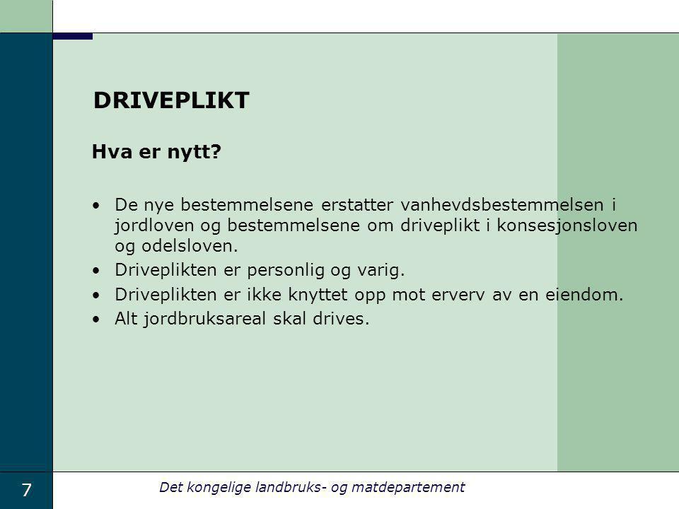 DRIVEPLIKT Hva er nytt