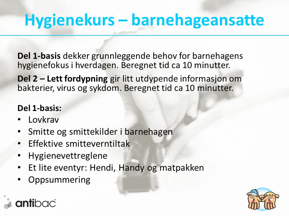 Hygienekurs – barnehageansatte