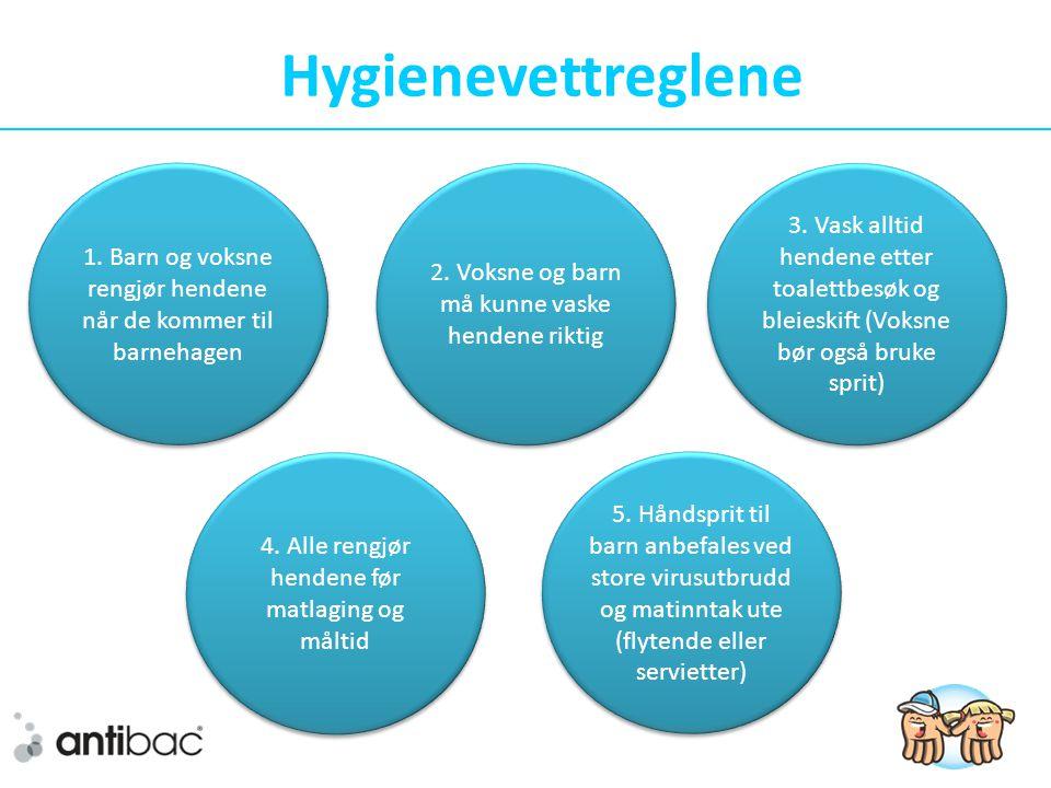 Hygienevettreglene 1. Barn og voksne rengjør hendene når de kommer til barnehagen. 2. Voksne og barn må kunne vaske hendene riktig.