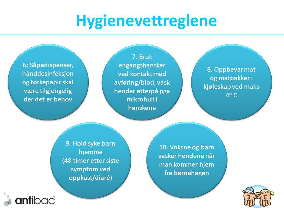 Hygienevettreglene 6: Såpedispenser, hånddesinfeksjon og tørkepapir skal være tilgjengelig der det er behov.