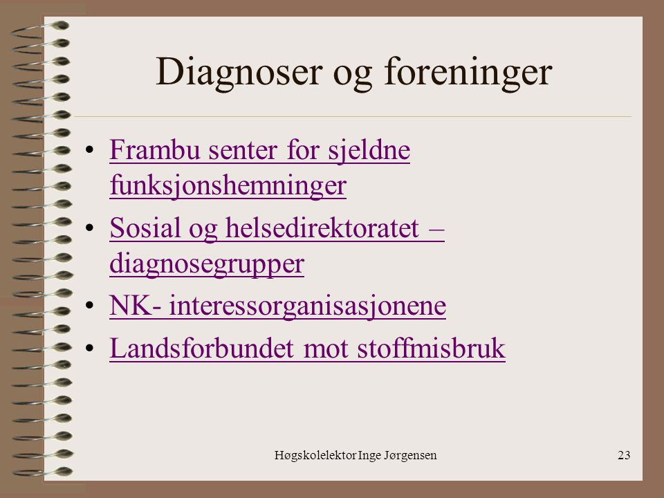 Diagnoser og foreninger