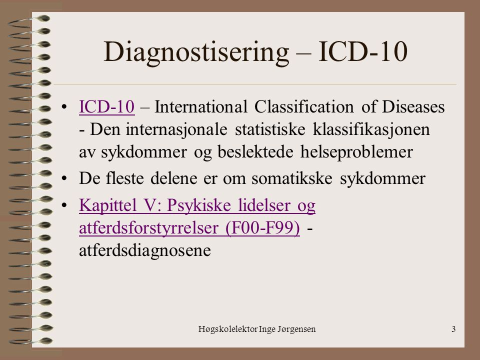 Diagnostisering – ICD-10