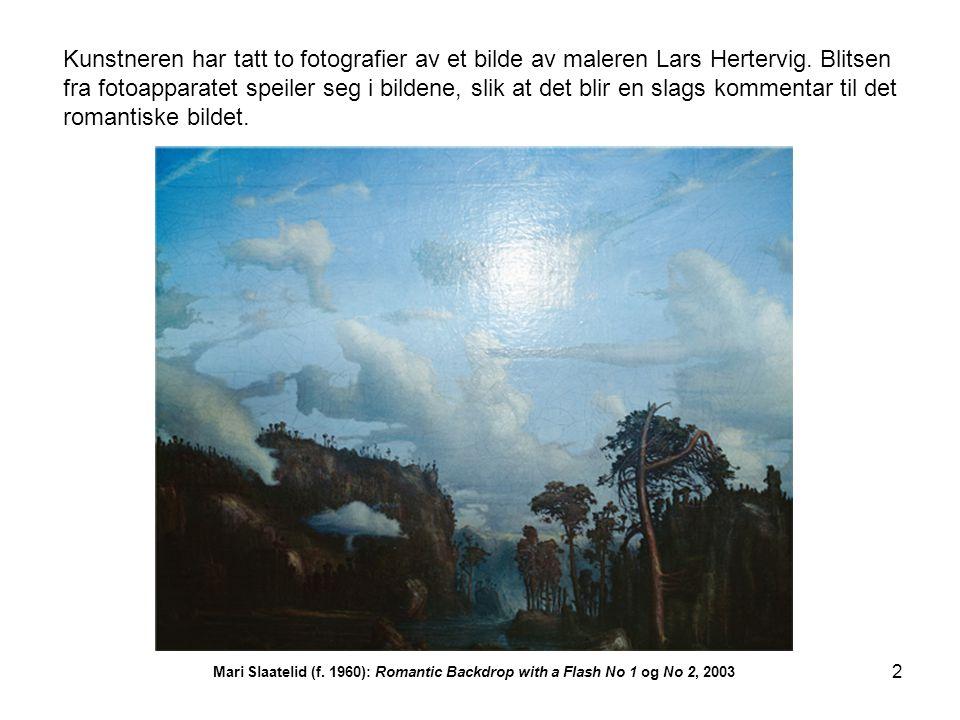 Kunstneren har tatt to fotografier av et bilde av maleren Lars Hertervig. Blitsen fra fotoapparatet speiler seg i bildene, slik at det blir en slags kommentar til det romantiske bildet.