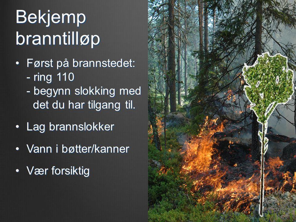 Bekjemp branntilløp Først på brannstedet: - ring 110 - begynn slokking med det du har tilgang til.
