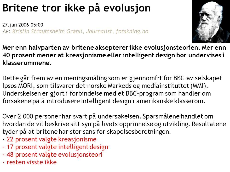 Britene tror ikke på evolusjon 27