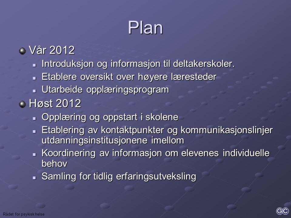Plan Vår 2012. Introduksjon og informasjon til deltakerskoler. Etablere oversikt over høyere læresteder.