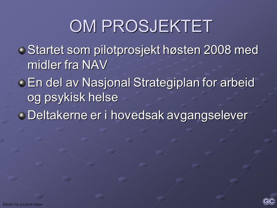 OM PROSJEKTET Startet som pilotprosjekt høsten 2008 med midler fra NAV