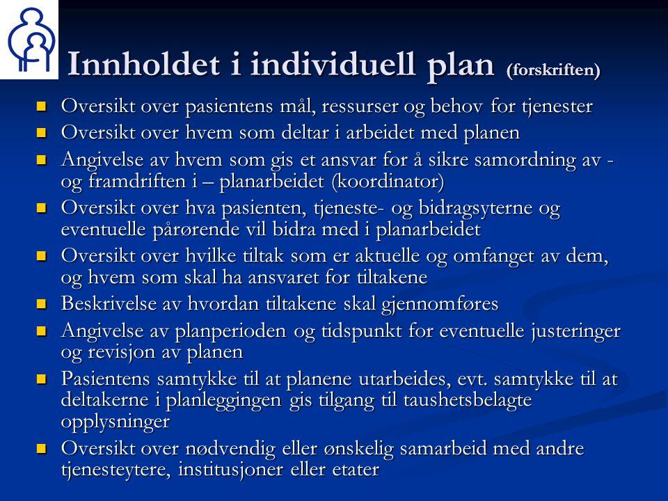 Innholdet i individuell plan (forskriften)