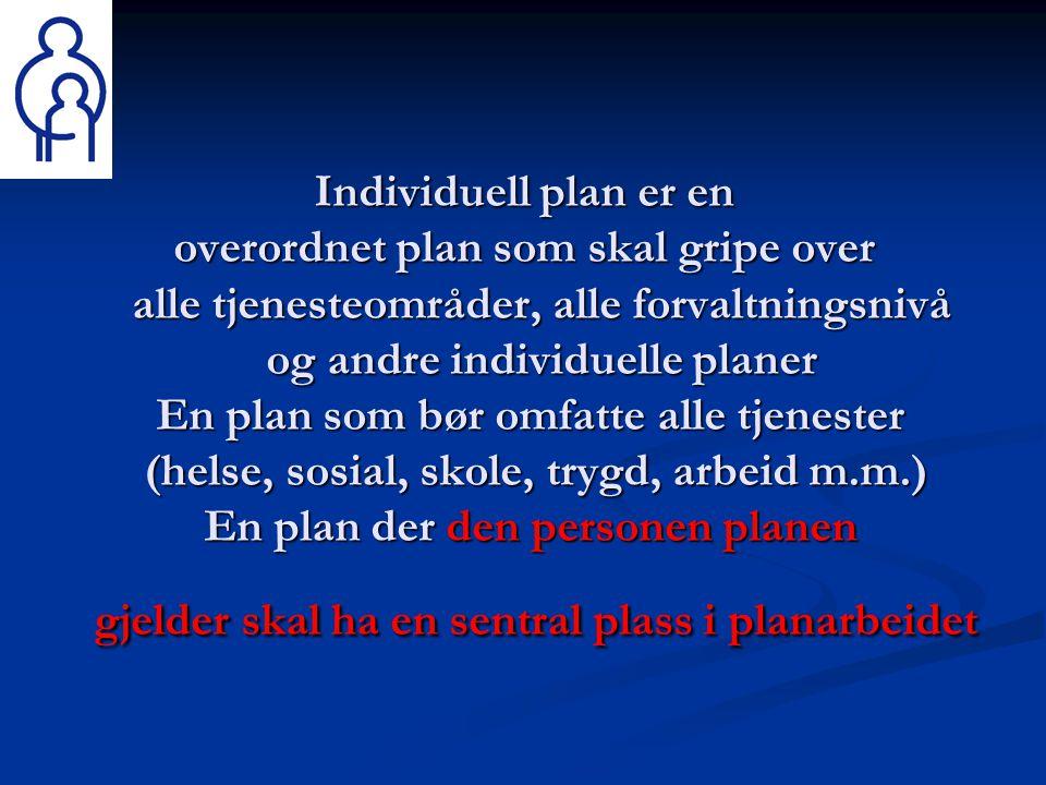 Individuell plan er en overordnet plan som skal gripe over alle tjenesteområder, alle forvaltningsnivå og andre individuelle planer En plan som bør omfatte alle tjenester (helse, sosial, skole, trygd, arbeid m.m.) En plan der den personen planen gjelder skal ha en sentral plass i planarbeidet