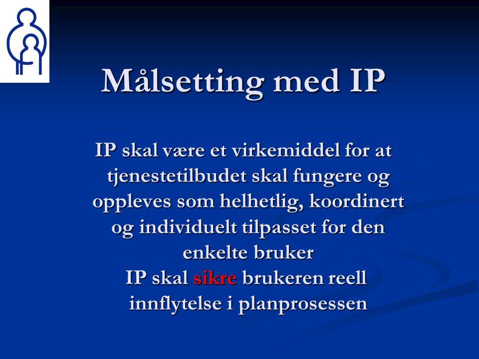 Målsetting med IP IP skal være et virkemiddel for at tjenestetilbudet skal fungere og oppleves som helhetlig, koordinert og individuelt tilpasset for den enkelte bruker IP skal sikre brukeren reell innflytelse i planprosessen