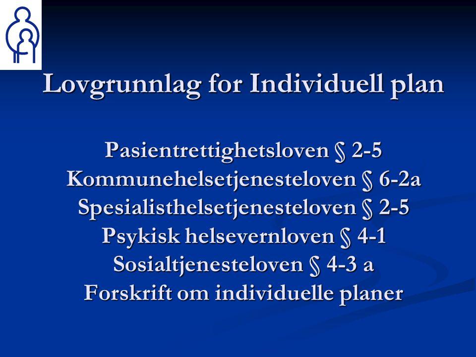 Lovgrunnlag for Individuell plan Pasientrettighetsloven § 2-5 Kommunehelsetjenesteloven § 6-2a Spesialisthelsetjenesteloven § 2-5 Psykisk helsevernloven § 4-1 Sosialtjenesteloven § 4-3 a Forskrift om individuelle planer