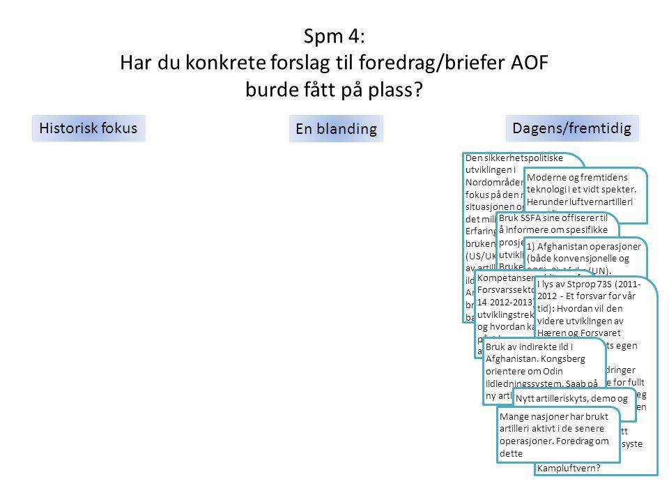 Spm 4: Har du konkrete forslag til foredrag/briefer AOF burde fått på plass