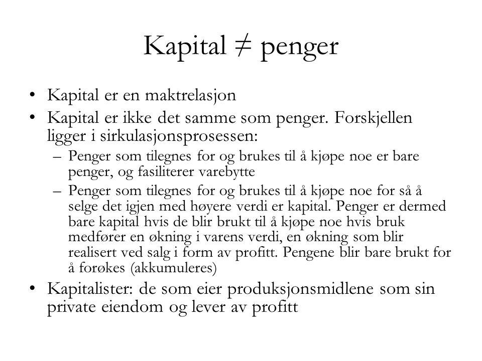 Kapital ≠ penger Kapital er en maktrelasjon