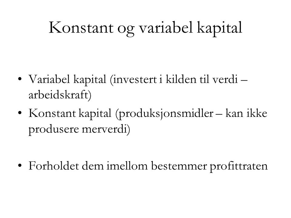 Konstant og variabel kapital