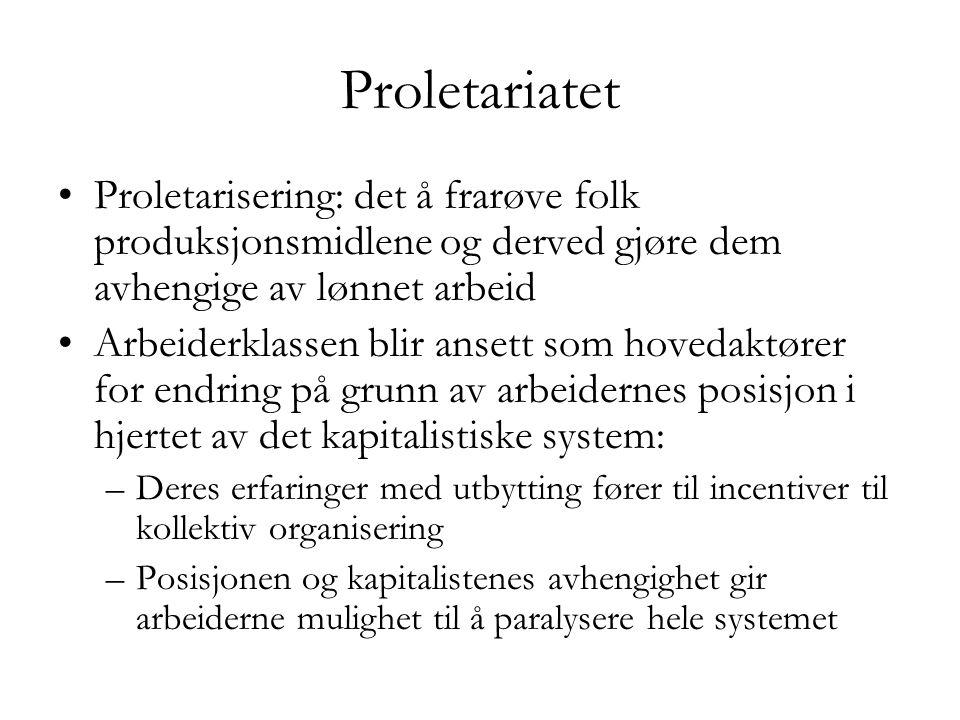 Proletariatet Proletarisering: det å frarøve folk produksjonsmidlene og derved gjøre dem avhengige av lønnet arbeid.