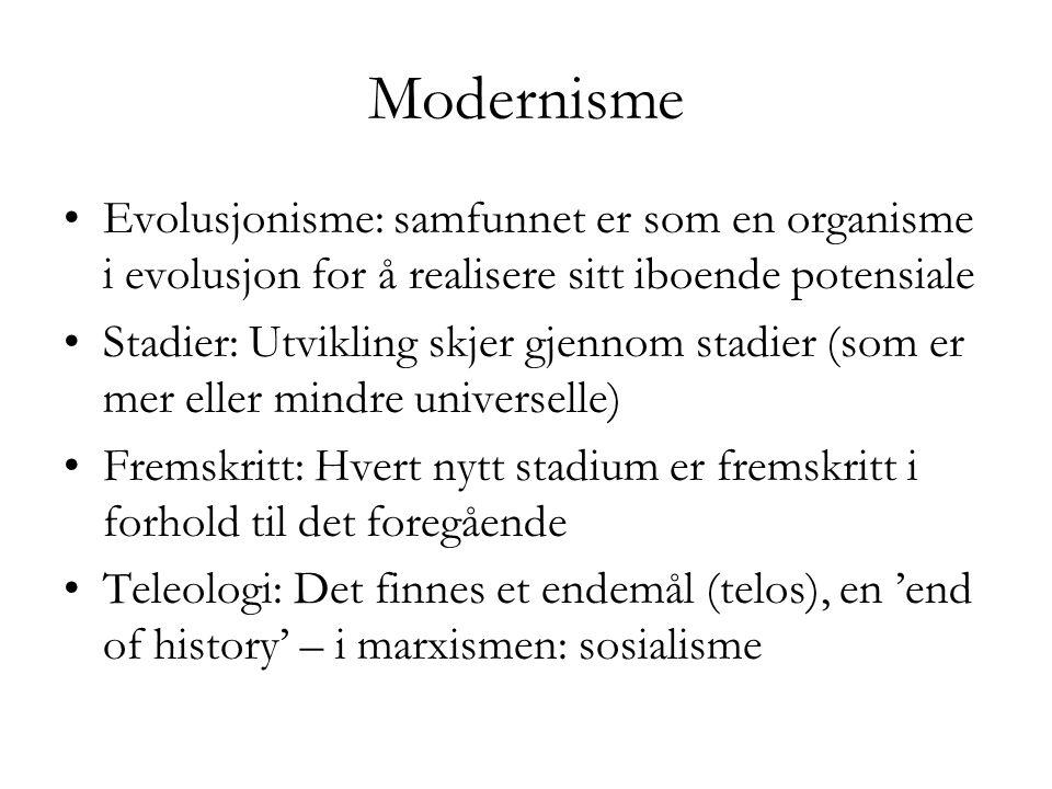 Modernisme Evolusjonisme: samfunnet er som en organisme i evolusjon for å realisere sitt iboende potensiale.