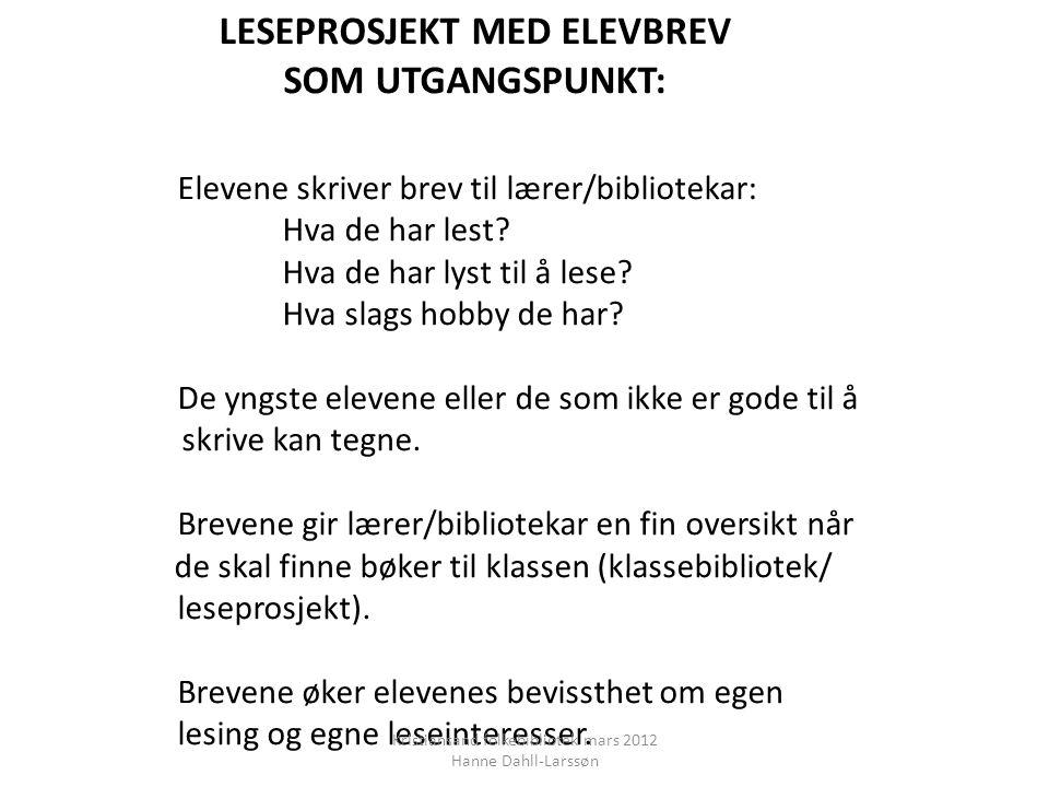 LESEPROSJEKT MED ELEVBREV