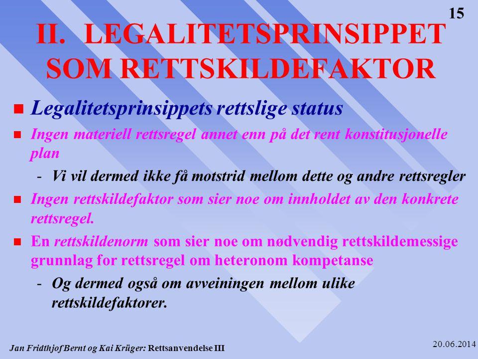 II. LEGALITETSPRINSIPPET SOM RETTSKILDEFAKTOR