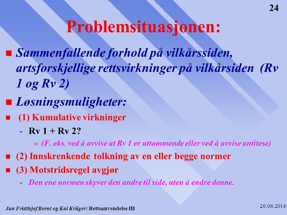 Problemsituasjonen: Sammenfallende forhold på vilkårssiden, artsforskjellige rettsvirkninger på vilkårsiden (Rv 1 og Rv 2)
