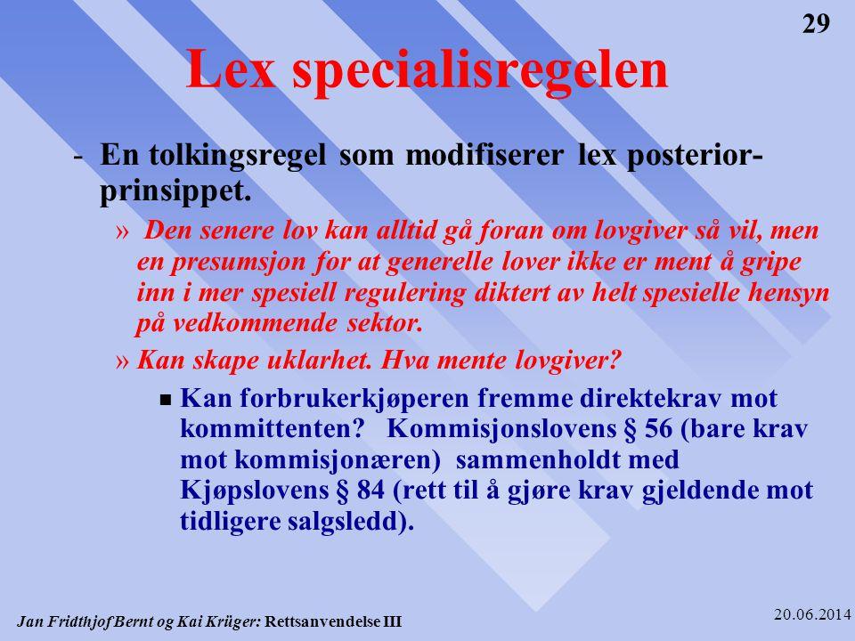 Lex specialisregelen En tolkingsregel som modifiserer lex posterior-prinsippet.