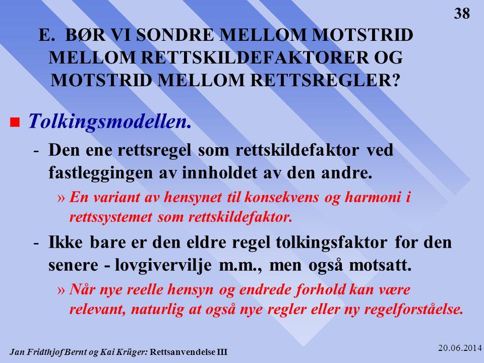E. BØR VI SONDRE MELLOM MOTSTRID MELLOM RETTSKILDEFAKTORER OG MOTSTRID MELLOM RETTSREGLER