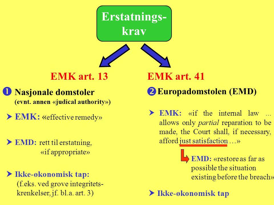 Erstatnings-krav   EMK art. 13 EMK art. 41