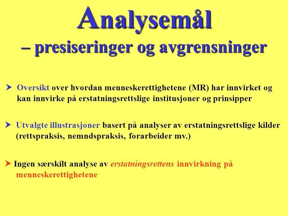 Analysemål – presiseringer og avgrensninger