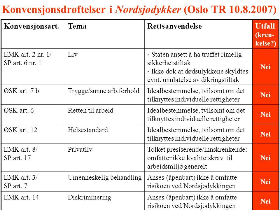 Konvensjonsdrøftelser i Nordsjødykker (Oslo TR 10.8.2007)