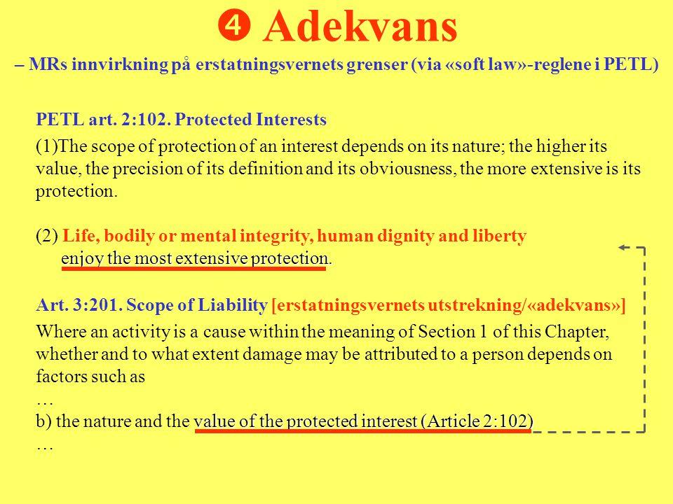  Adekvans – MRs innvirkning på erstatningsvernets grenser (via «soft law»-reglene i PETL)