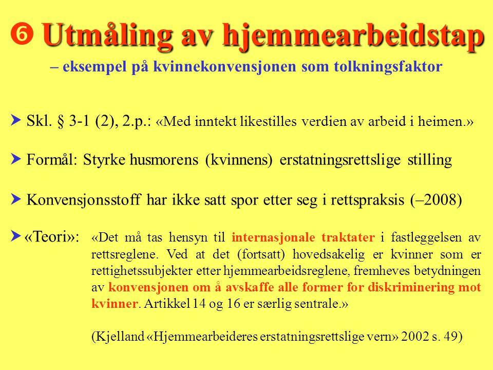  Utmåling av hjemmearbeidstap – eksempel på kvinnekonvensjonen som tolkningsfaktor