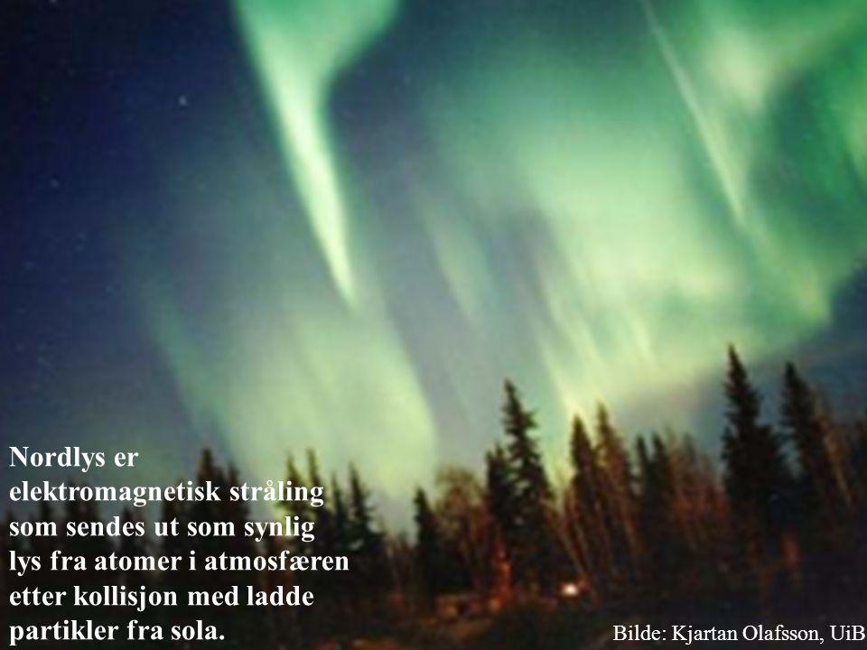 Nordlys er elektromagnetisk stråling som sendes ut som synlig lys fra atomer i atmosfæren etter kollisjon med ladde partikler fra sola.
