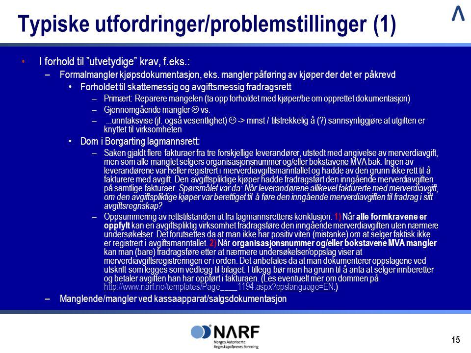 Typiske utfordringer/problemstillinger (1)