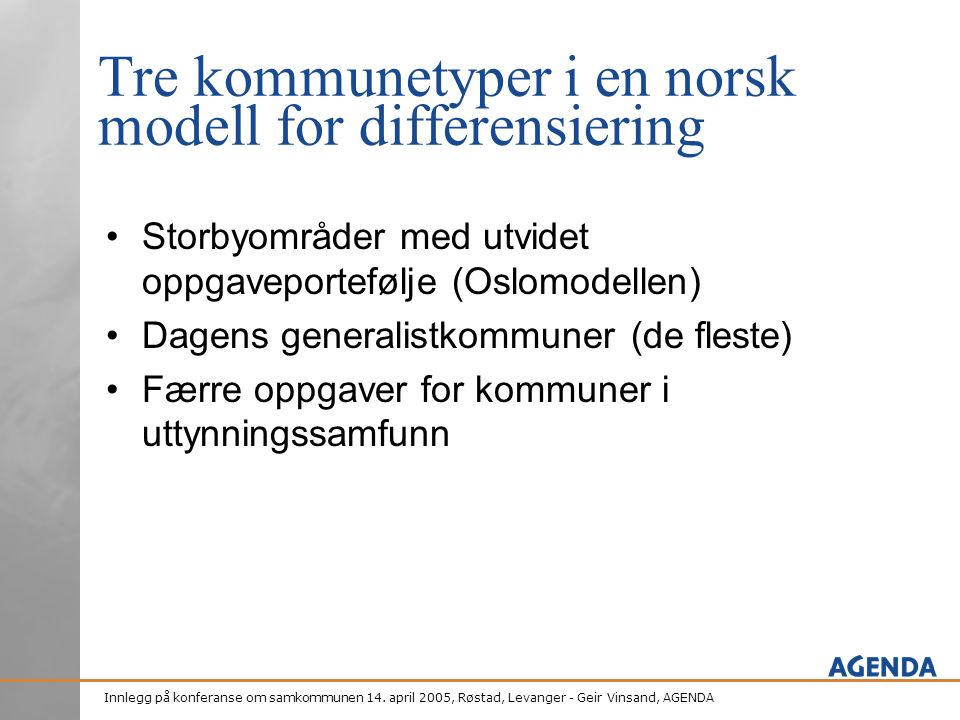 Tre kommunetyper i en norsk modell for differensiering