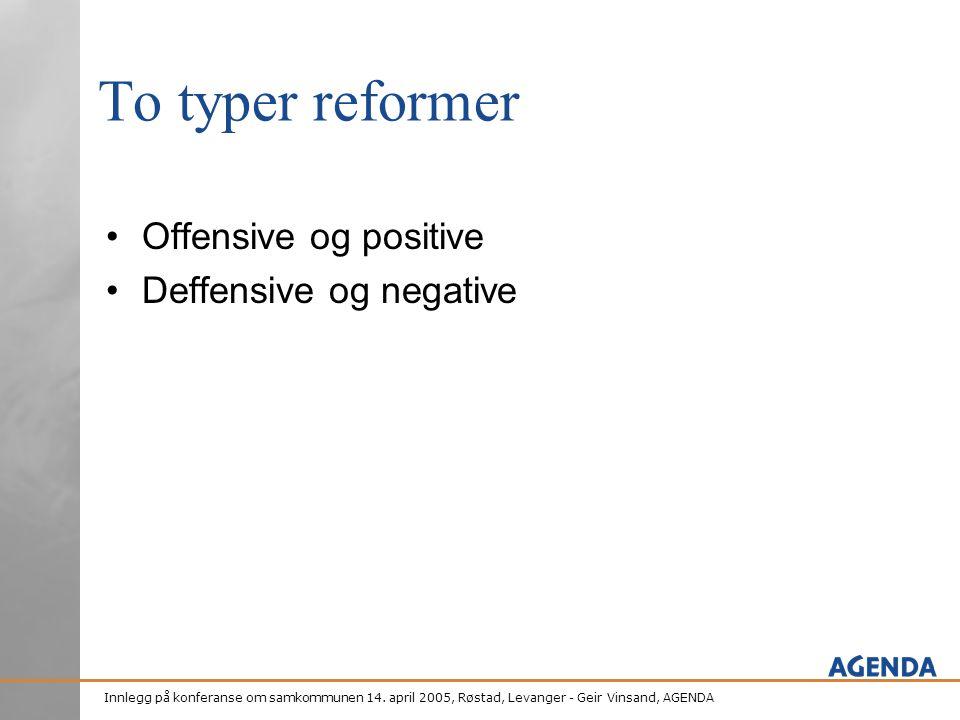To typer reformer Offensive og positive Deffensive og negative
