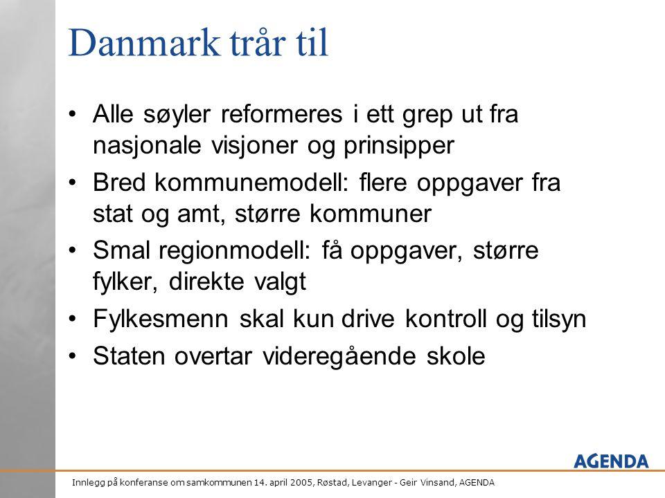 Danmark trår til Alle søyler reformeres i ett grep ut fra nasjonale visjoner og prinsipper.