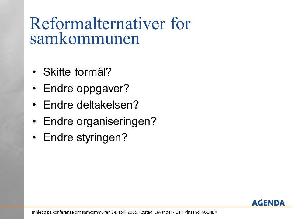 Reformalternativer for samkommunen
