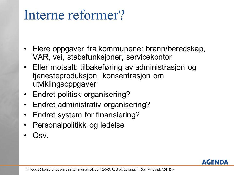 Interne reformer Flere oppgaver fra kommunene: brann/beredskap, VAR, vei, stabsfunksjoner, servicekontor.