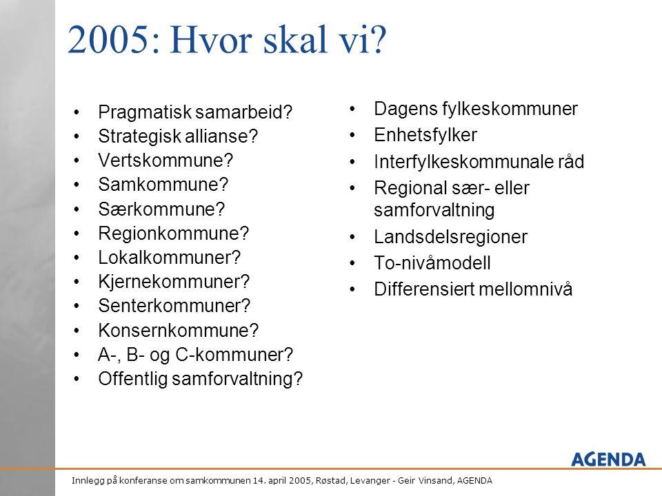 2005: Hvor skal vi Dagens fylkeskommuner Enhetsfylker