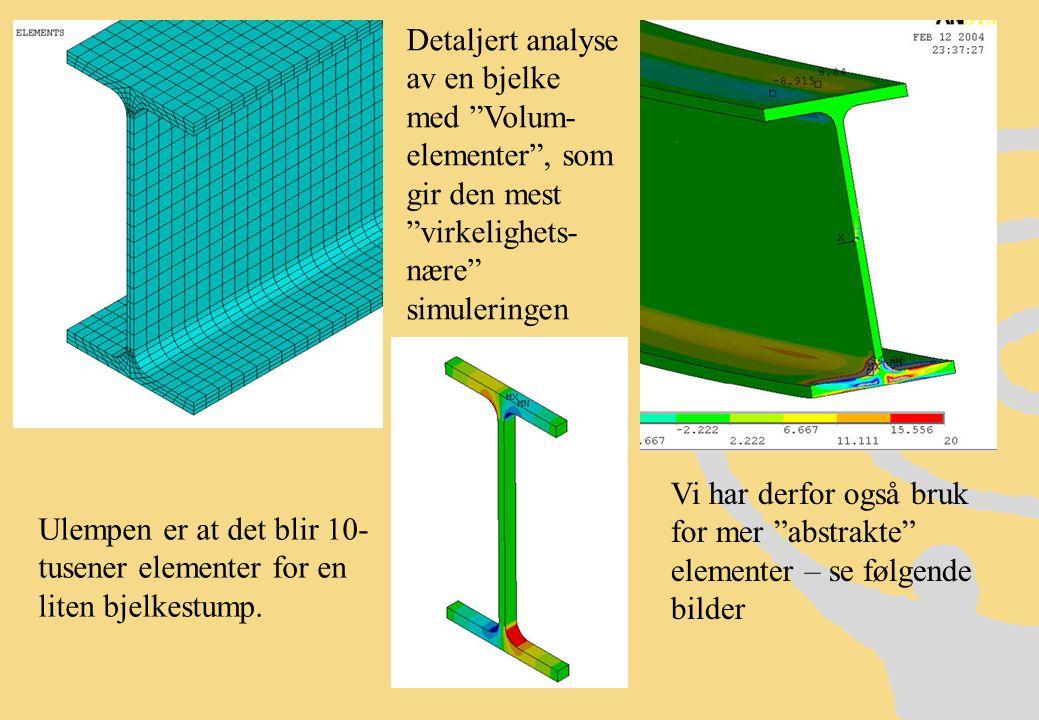 Detaljert analyse av en bjelke med Volum-elementer , som gir den mest virkelighets-nære simuleringen