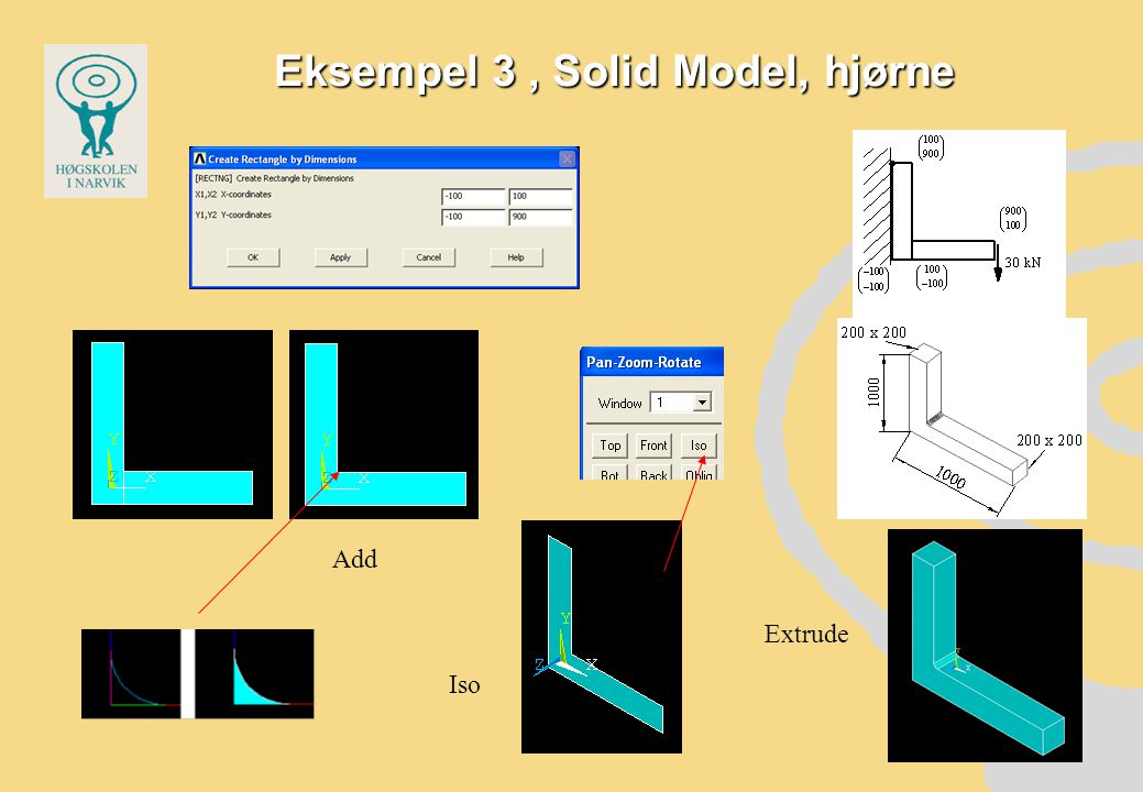 Eksempel 3 , Solid Model, hjørne