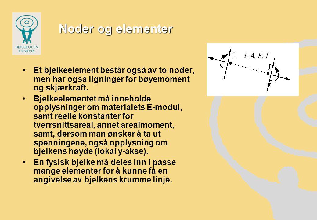 Noder og elementer Et bjelkeelement består også av to noder, men har også ligninger for bøyemoment og skjærkraft.